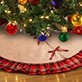 Aytai 48inch Plaid Christmas Tree Skirts Red and Black Ruffle Edge Linen Burlap Tree Skirt for Holiday Christmas Decorations