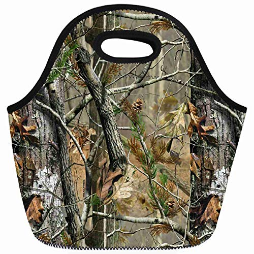 Ahawoso Reusable Insulated Lunch Tote Bag Camouflage Camo Tree Hunter Dry Branches Leaves Oak Woodland Camo Vintage Retro Zippered 10X11 Neoprene School Picnic Gourmet Lunchbox