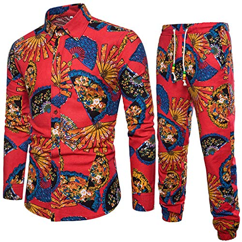VEZAD Tracksuit Men Ethnic Style Printed Cotton and Linen Long-Sleeved Shirt + Pants Suit ()
