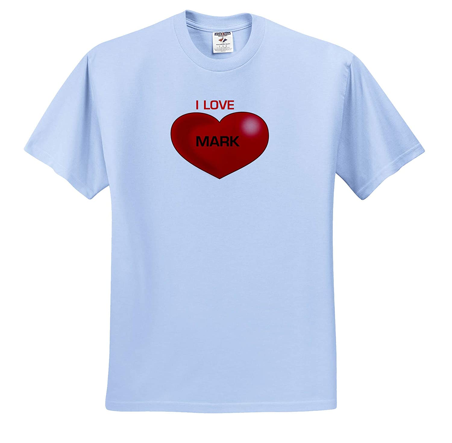 Love Hearts with Names 3dRose Lens Art by Florene Image of Mark I Love You with Giant Red Heart T-Shirts