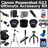 Ultimate Accessory Kit For Canon Powershot G12 Includes 32GB High Speed SD Memory card + Extended Replacement NB-7l (1300 mAH) Battery + Ac/Dc Rapid Travel Charger + 50'' Pro Tripod + HD Wide Angle Lens + 2X Telephoto + 3pc High Res Filter Kit + Alot More