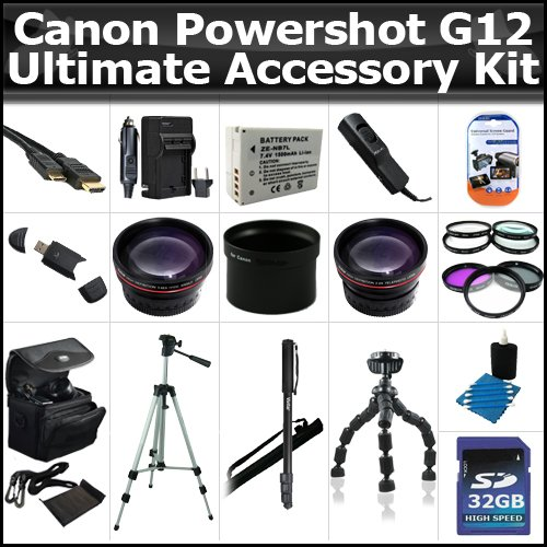 Ultimate Accessory Kit For Canon Powershot G12 Includes 32GB High Speed SD Memory card + Extended Replacement NB-7l (1300 mAH) Battery + Ac/Dc Rapid Travel Charger + 50'' Pro Tripod + HD Wide Angle Lens + 2X Telephoto + 3pc High Res Filter Kit + Alot More by ButterflyPhoto