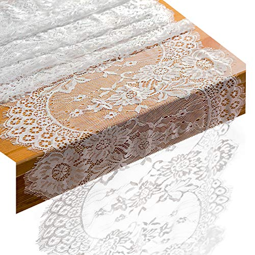 Crisky 14x120 Inch White Lace Table Runners with Rose Vintage Embroidered Boho Wedding Reception Table Decoration, Thin, Baby & Bridal Shower Party Decor Package of 10