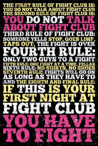Fight Club Poster Rules 61 x 91,5 cm