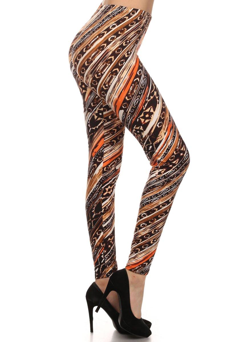 Leggings Depot Women's Popular Chestnut Lux Tribal Printed Leggings 61Oxja3xAeL