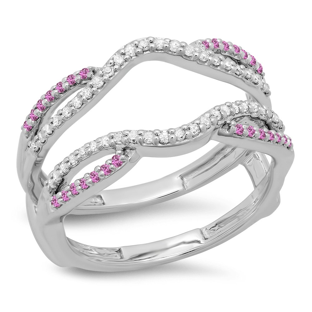 Dazzlingrock Collection 10K Round Cut White Diamond & Pink Sapphire Ladies Wedding Band Guard Double Ring, White Gold, Size 5.5