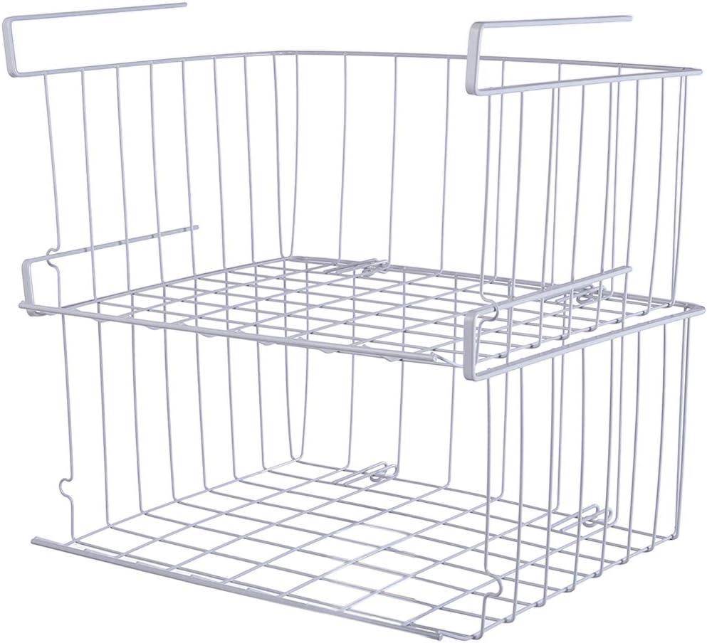HMANE 2Pcs Under Shelf Basket, Multifunctional Cabinet Storage Shelf Wire Basket Organizer for Kitchen Pantry Cabinet Closet, Easy to Install - White