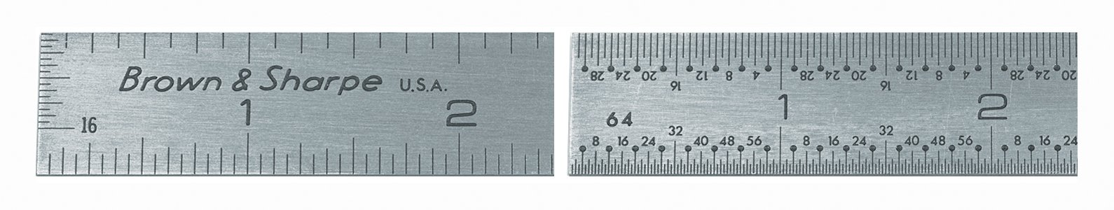 Brown & Sharpe 599-314-604 Stainless Steel Stainless Rule, 6'' Length