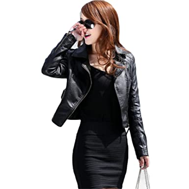 663b23405 Tidecc Women Leather Jackets Slim Fit Lapel Zip Up Short Biker Jackets PU  Blazers Black