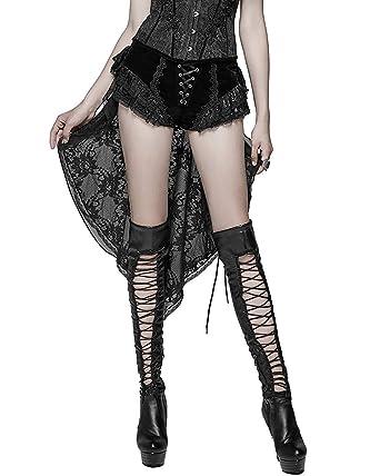 Punk Lacets Noir Femmes Train Rave Lolita Short Velours Gothique m0w8nNv