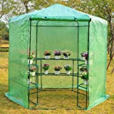 New 7.5' Portable Hexagonal Walk In Greenhouse 3-Tier Shelves Gardening Flower