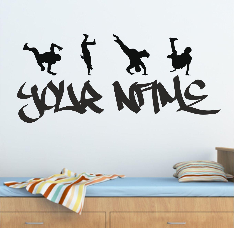 hip hop wall art shenra com personalised graffiti street dance hip hop wall art sticker 100cm
