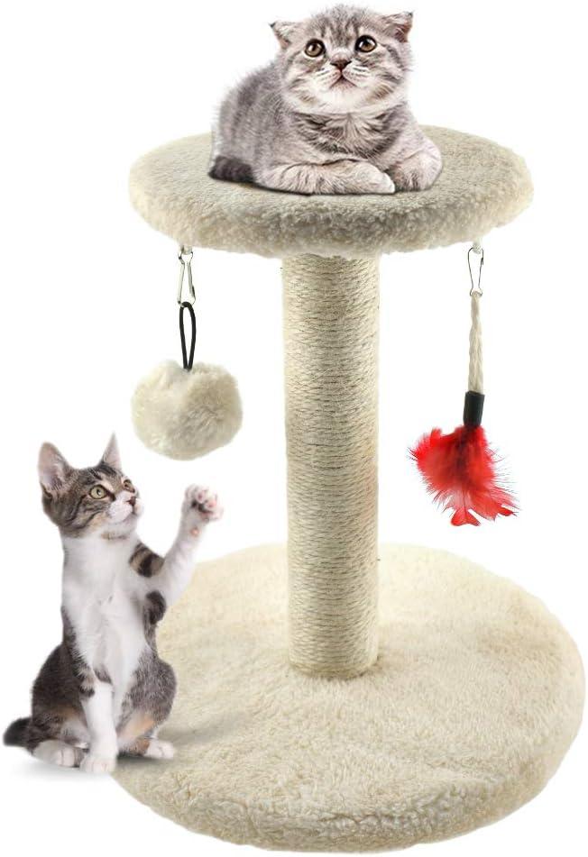 Zubita Rascadores para Gatos, Árbol para Gatos Arañazo Gatos Juguetes de Sisal Natural, Cat Toy Centro de Actividad para Gatitos, Color Beige, 28 * 28 * 29 CM