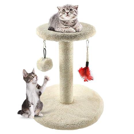 Zubita Rascadores para Gatos, Árbol para Gatos Arañazo Gatos Juguetes de Sisal Natural, Cat Toy Centro de Actividad para Gatitos, Color Beige, 28 * 28 ...