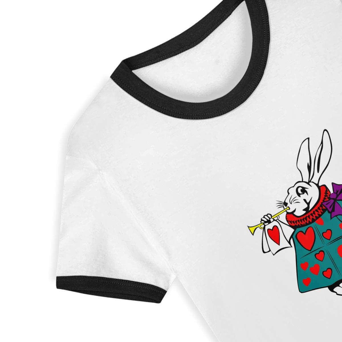 Rabbit in Wonder Land Summer Basic Childrens Short Sleeve Tee Short T Shirts