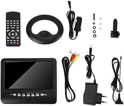 TV de pantalla panorámica portátil, 7,5 pulgadas LCD portátil HD HD Reproductor de TV móvil analógico Grabar para el automóvil UE Enchufe 100-240V: Amazon.es: Coche y moto