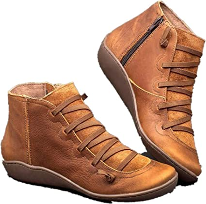 Dayyet Ankle Boots for Women Low Heel