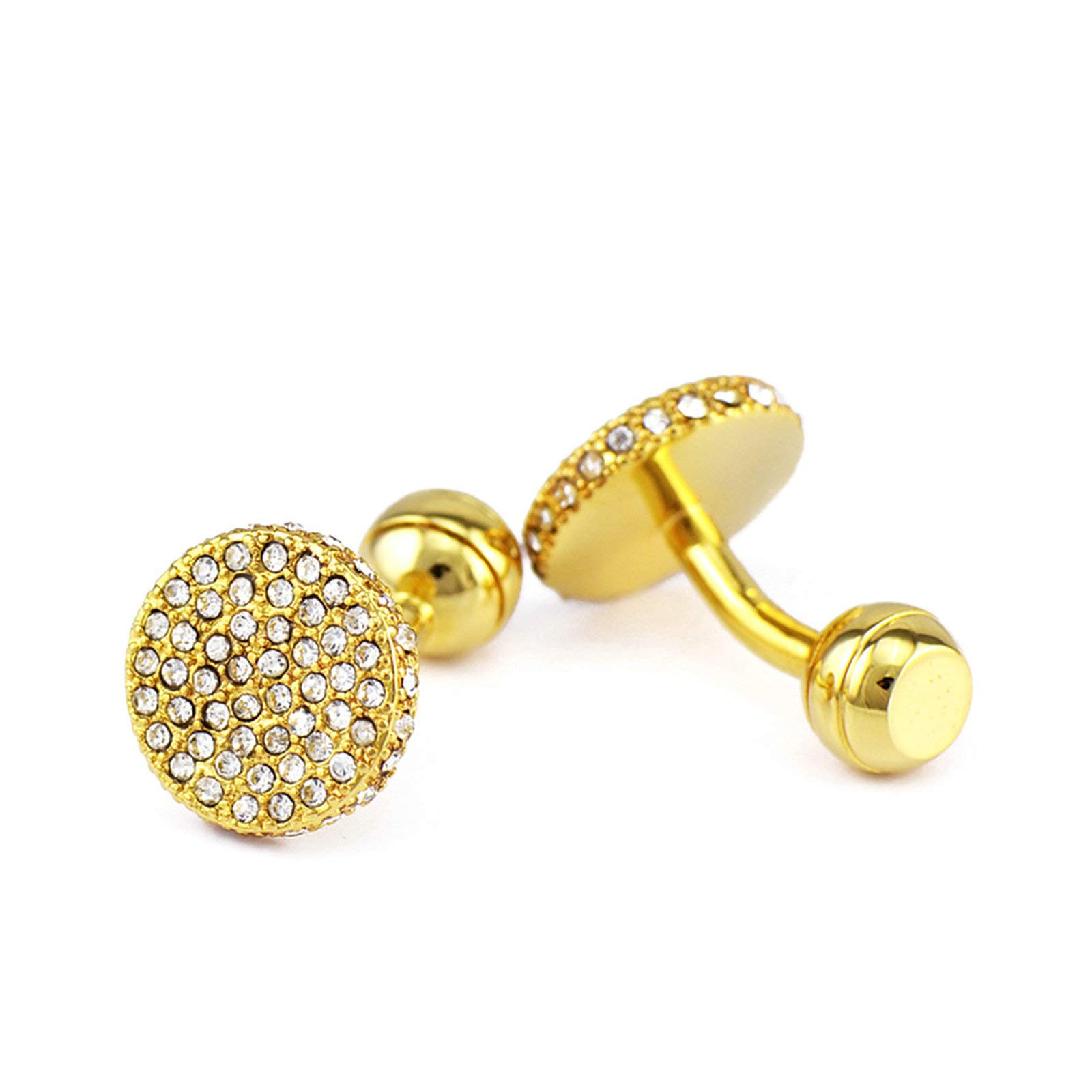 EoCot Shirt Cuff Links Wedding Cufflinks Copper Gold Round Cubic Zirconia Business Wedding Party Jewelry Gift