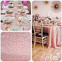 8FT 90''x156'' Blush Pink Sequins Wedding Square Tablecloth, Blush Pink Sequin Table cloth for Wedding, Event