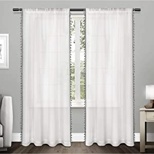 Exclusive Home Curtains Tassels Applique Bordered Textured Sheer Window Curtain Panel Pair with Rod Pocket, 54x96, Black Pearl, 2 Piece