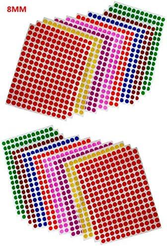 Runde Punkt-Aufkleber,8mm Selbstklebende Farbige Punkte 4160 Kleine Runde Aufkleber 16 Farben für Büro,Schule,Kalender,Karten-Aufkleber