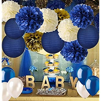 Navy Blue Baby Shower Decorations Navy Blue Cream Gold Tissue Paper Flowers Pom Poms Paper Lanterns For Royal Prince Birthday Graduation Bridal Shower