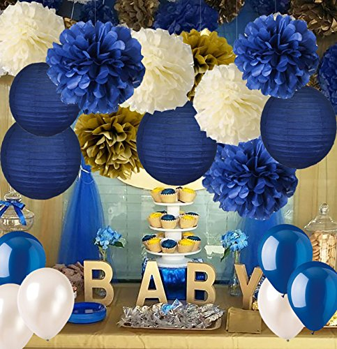 Navy Blue Baby Shower Decorations-Navy Blue Cream Gold Tissue Paper Flowers Pom Poms Paper Lanterns for Royal Prince Birthday Graduation Bridal Shower Bachelorette Party Wedding Engagement Party ()