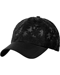 55d60854c01 C.C Women s Floral Lace Panel Vented Adjustable Precurved Baseball Cap Hat