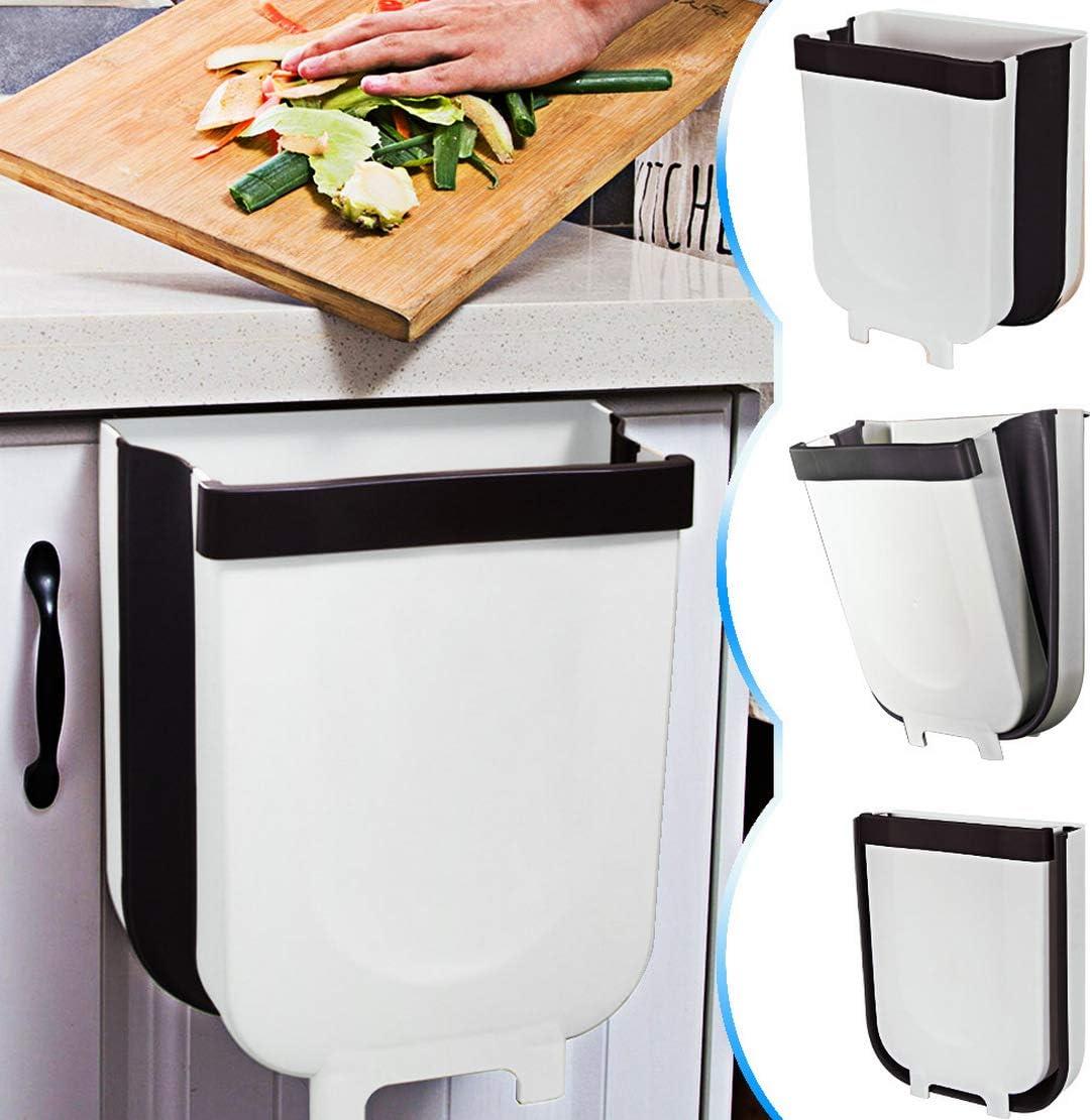 TTMOW Cubos de Basura Plegable Colgando para la Cocina, Coche 9L (Blanco)
