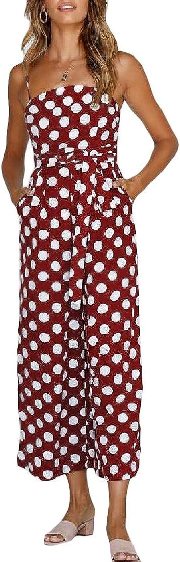 Macondoo Women Trousers Stylish Camisole Polka Dots Off Shoulder Jumpsuit