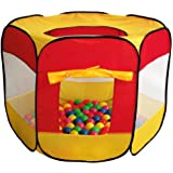 100-Pit-Ball Play Tent Popup Hexagon Mesh Kids House Twist Pool by i play.