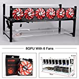 Aluminum 8 GPU Mining Rig Case With 6 PCS 120mm Case Fan, Stackable Open Air Frame Miner Case For ETH/ETC/ZCash/Cryptocurrency(Red Fans,Black)