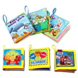 Biubee 6 Packs Soft Cloth Books Toys Set for Baby - Non -Toxic Early Educational Books of Numbers, Alphabets and more