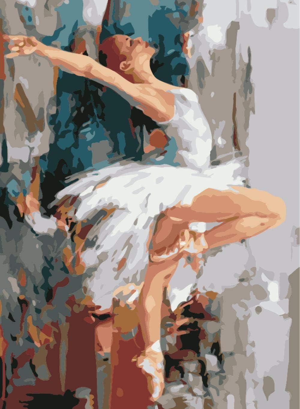 Pintar por Numeros Bailarina De Ballet Sexy con Pintura Acrílica para Decoración del Hogar Pintar por Números para Niños Adultos Kit Sin Marco 40,6X50,8 Cm