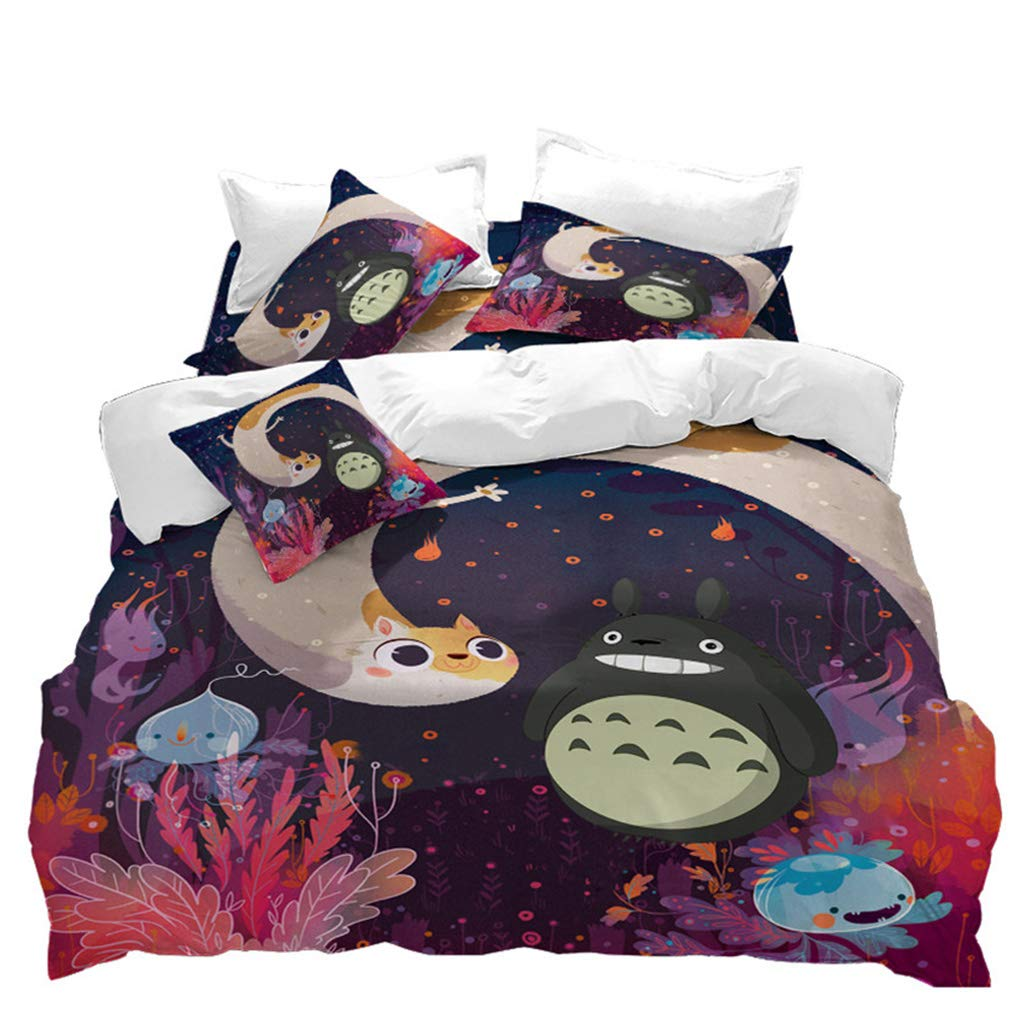 VITALE Duvet Cover Full Size,My Neighbor Totoro Cartoon Quilt Cover Full Size,3 Pieces Fairy Printed Bedding Set,for Kids Bedroom Home Decor