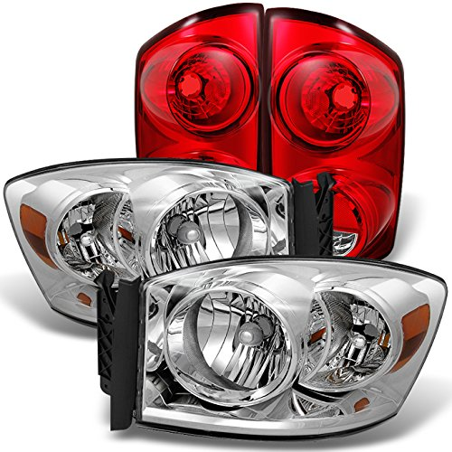 For 2007-2008 Dodge Ram 1500 | 2007-2009 Ram 2500 3500 Chrome Clear Headlights +Red Clear Tail Light Lamp