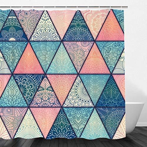 VIMMUCIR Geometric Bohemian Shower Curtain, Indian Mandala Colorful Bold Design Decorative Triangle Print Fabric Bathroom Curtain Set with Hooks, Turquoise and Pink (72