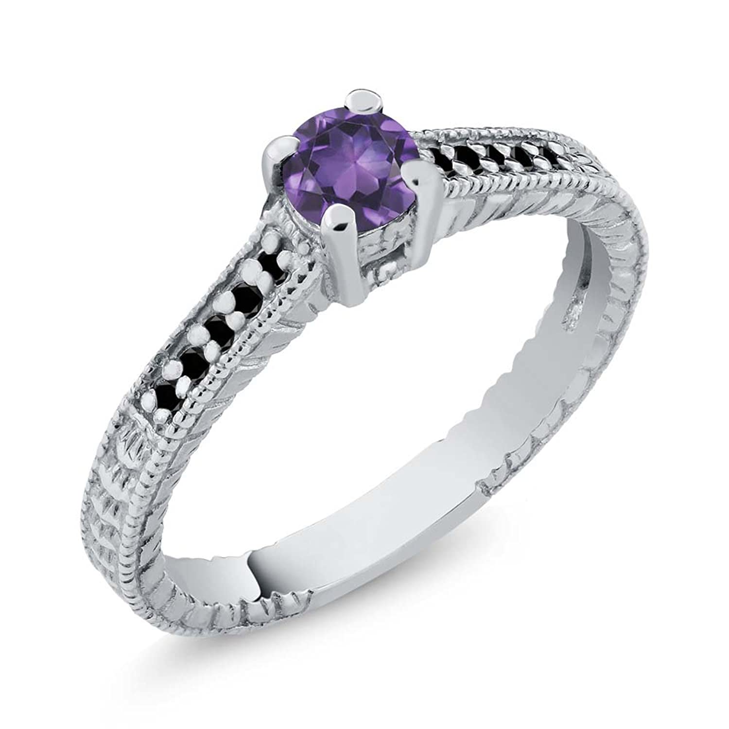 0 32 ct round purple amethyst black diamond 925 sterling silver