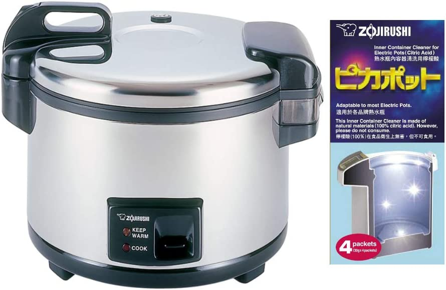 Zojirushi Commercial Rice Cooker and Warmer (20-Cup) with 4 Packs of Descaling Agent Bundle (2 Items)