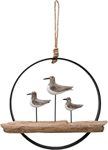 Rustic Wood Seagull Decor Hanging Nautical Wall Decor, Wooden Seagull Nautical Decor Beach Themed Decoration Coastal Decor Wall Art Decoration for Home Mediterranean Decor (Wood Color Seagull)