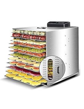 Secador de Frutas, Deshidratador de Alimentos de Acero Inoxidable, Secado Eléctrico por Aire Caliente, Temporización Programable, Temperatura Personalizable ...