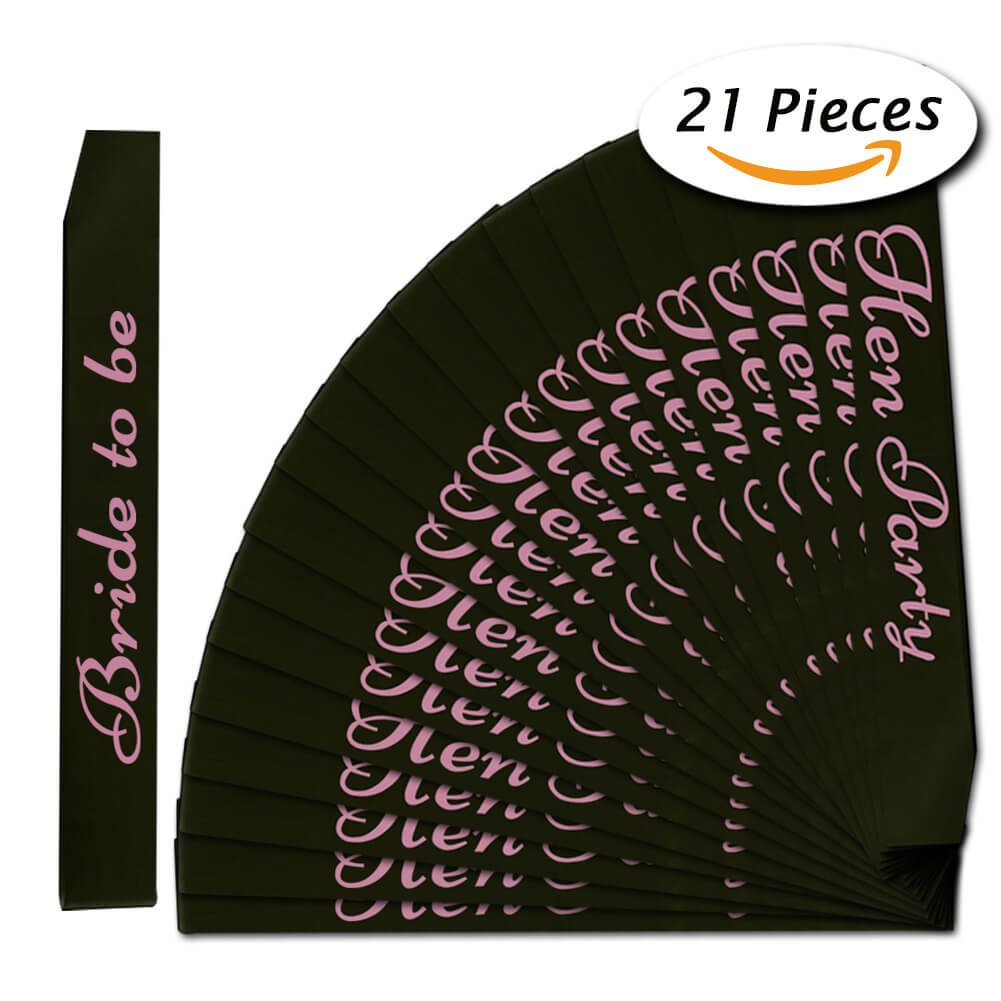 Hen Party Sashes and Bride to Be Banner (21 Pcs Black) PAXCOO