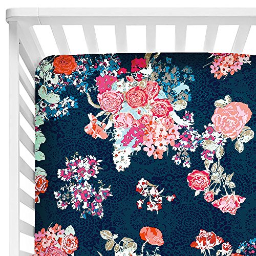 Sahaler Baby Floral Fitted Crib Sheet for Boy and Girl Toddler Bed Mattresses fits Standard Crib Mattress 28x52 (Navy Floral) ()