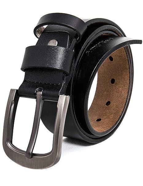 AmyKer Cinturón hombre cuero auténtico con hebilla de ...