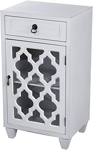 Heather Ann Creations Standing Single Drawer Distressed Storage Cabinet, 30 x 18 , White
