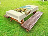 Ambesonne Landscape Outdoor Tablecloth, Doha Historical Arabian Qatar Avant Garde Watercolor Panorama with Brush Strokes, Decorative Washable Picnic Table Cloth, 58 X 120 Inches, Multicolor