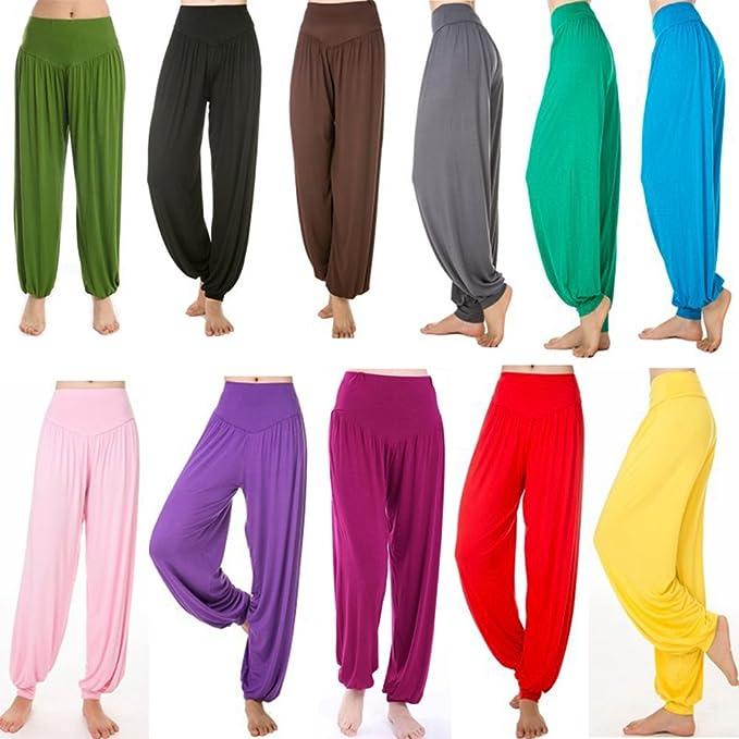 Cayuan Mujer Pantalones Bombachos Harem Pantalón Polainas Holgados Yoga Pilates Pantalones de Modal