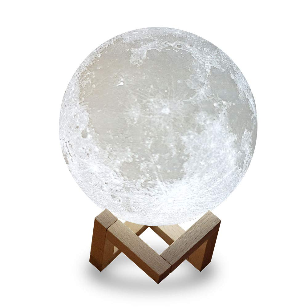 EGULED Full Moon Lamp Night Light 7.1IN With wood  Stand 3D Printed with Safe PLA,Eye Caring LED,Dimmable and Rechargeable,Two Colors Touch Control,cool Gift,Halloween decoration