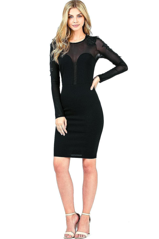 Black Haute Monde Women's Juniors Long Sleeve Cocktail Mesh Dress