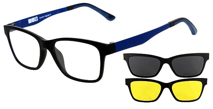 Gafas de Sol Rainbow MagClip®/Gafas de Sol Prescritas/Gafas de Sol con Clip Polarizado Magnético/RMCG (Polarizados Gris + Amarillo(Conducción ...